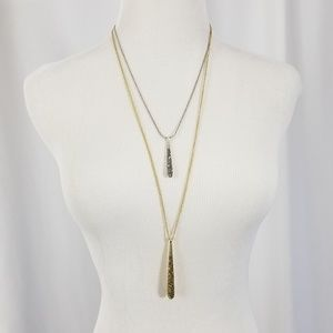 Lucky Brand Spike Two Tone Teardrop Layer Necklace